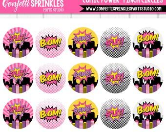 "INSTANT DOWNLOAD ""Comic Power"" Pink Superhero 4x6"" 1"" Inch Bottle Cap Image/Digital Collage Sheet"