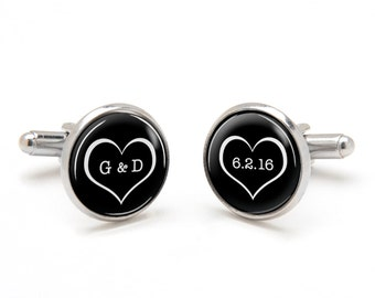 Monogrammed Cufflinks - Wedding Cufflinks - Groom Cufflinks Personalized with Initials of Bride Groom and Wedding Date