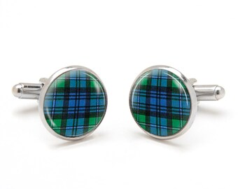 Scottish Green Plaid Cufflinks - Pattern Cufflinks - Green Tartan Plaid Cufflinks - Scottish Jewelry - Cool and Unique Gifts for Men