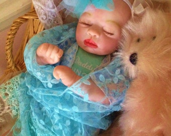 From The Preemie Anna Kit Reborn Baby Girl Alise Completed Doll with Magnetic Pacifier