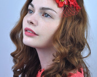 Mini Flower and Feather Hair Clip Fascinator in Red