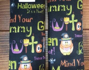 Reversible TODDLER Car Seat Strap Covers Red Rooster's Halloween Words on Black with Orange Dimple Dot Minky Cuddle Baby Unisex ITEM #032