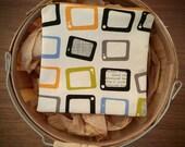 Reusable Snack Bag, TV Set Fabric, Chalk, Green, Peach, Black