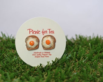 Fried Egg on Toast Stud Earrings - cute mini handmade breakfast food jewellery