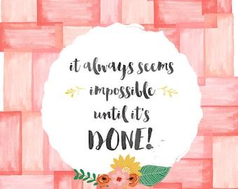 Coral Watercolor Wall Art,Nursery Printable Art,Floral Wall Art,Printable Quote, Inspirational Quote,Pink Decor,Printable Quote,Office Quote