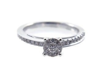 Engagement Ring. White gold diamonds ring. Gold engagement ring. Classic engagement ring. Diamond ring. Classic diamond ring(R-R14019-53047)