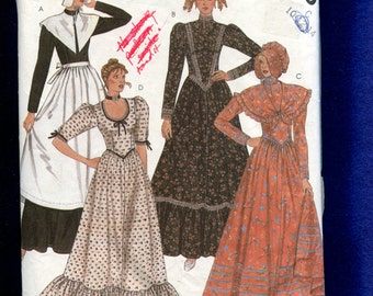 Vintage 1980's McCall's 2056 Frontier Woman Ruffled Tier Dresses Sizes 10..12