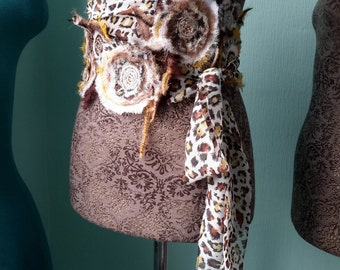 Women textile leopard belt – scarf decorated with fabric flowers and bugle beads