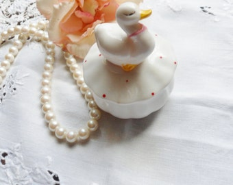 Duck Ring Dish with Red Dots, ROC Porcelain Duck Dish