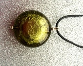 Olive Green Foiled Acrylic Disc on Black Leather Pendant  Fashion Trend Necklace