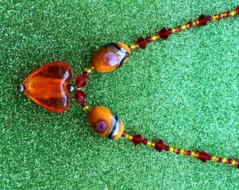 Orange Necklace with red and yellow seed beads Orange Glass Heart Pendant and rosebud beads Ladies Jewellery Gifts for her