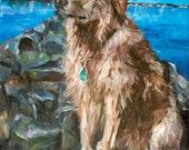 Personalized Pet Portrait Oil Painting XLarge commissioned Petmemorial Birthday Gif 24x30