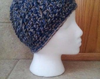 Crochet Beanie, Hat, Beanie, Crochet Hat, knit hat, brimmed hat, unisex, smoke, smokey blue, beige