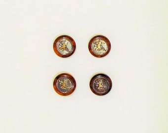 Set of 4 vintage bakelite and brass buttons, Art Deco bakelite buttons, marbled applejuice and root beer  buttons with archer motif