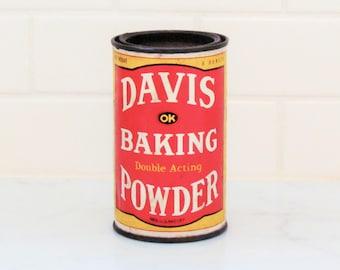 Vintage baking powder tin, Davis Baking Powder tin, 1940's tin, kitchen collectible
