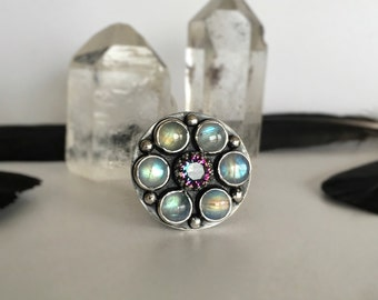 Blue Flash Rainbow Moonstone Ring With Mystic Quartz Handmade Sterling Silver Unique Patterned Band Statement Ring