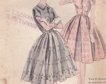 1950s Vogue Sewing Pattern for Womens One Piece Dress  Size 14, Bust 34 inch Pattern No 9919.