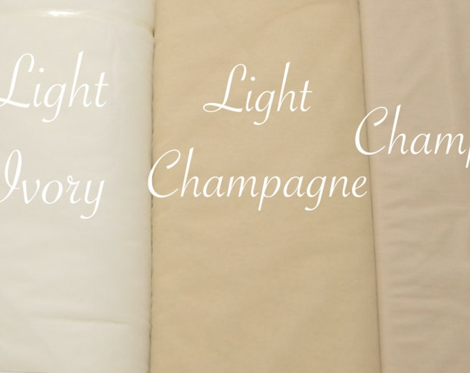 "116"" Wide BRIDAL ILLUSION TULLE by the Yard. //Blush, Hot & Light Pink, Peach, Snow white, Ivory, Light Ivory, Champagne, dusty rose pink.//"