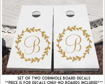Monogram Cornhole Decals Wedding Decals Gold Wedding Decor Gold Wedding Personalized Board Decals Rustic Wedding Decals Set of Two Decals
