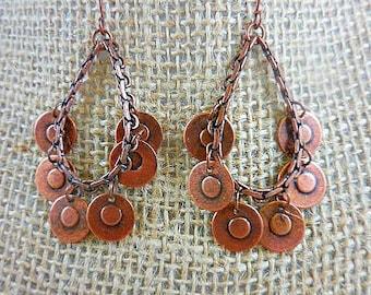 Copper Hoop Dangle Vintage Earrings