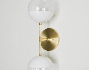 Modern Brass Light - Duel modern White + Brass wall sconce with glass globes - Delphine