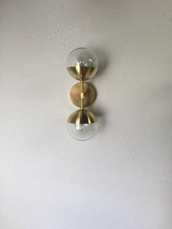 Modern Brass Light Duel modern brass wall sconce with glass