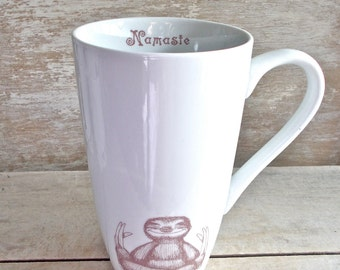 Namaste Baby Sloths,  Large Tea or Tall Cup, Sloth Meditation Teacup, 20 oz Coffee Mug, Cappuccino Porcelain, Big, Large, Tall Ready to Ship
