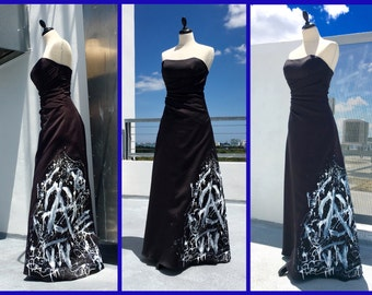 Unique Hand painted Black Bustier Evening Dress , painted by Urban Street Artist from Miami