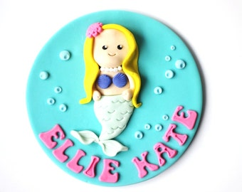 Fondant Mermaid Cake Topper set - Mermaid Cake Topper - Mermaid Party - Under the Sea Cake Topper - Fondant Under the Sea - Edible Mermaid