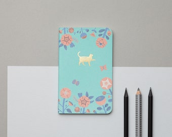 Flower And Gold Cat Emblem Pocket Notebook