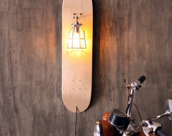 Skate Sconce- Repurposed Skateboard Light- Industrial Cage Lamp- Upcycled Wall Lighting- Skateboard Sports Decor- Edison Bulb- FREE SHIPPING