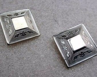 Victorian Revival, Silver Engraved Earrings, Egyptian Revival, 1950s Vintage Jewelry, SUMMER SALE