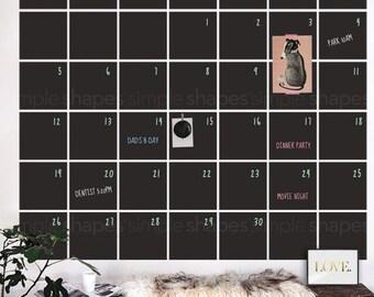 Chalkboard Wall Calendar, Blackboard Calendar, Wall Decal Calendar, Chalkboard Calendar Wall Sticker, Extra Large - by Simple Shapes