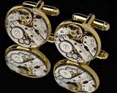 Watch Movement Cufflinks / Steampunk Cufflinks / Watch Cufflinks/ Sterling Silver Cufflinks or Gold Cufflinks/ Groomsmen Gifts/ 925 Jewelry