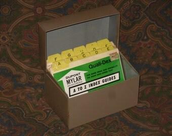 4 x 6 Brown Metal Card File Box & Index Cards Vintage