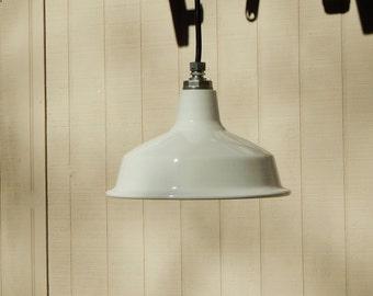 Small Industrial Enamel Pendant Lights - Small White Porcelain Factory Lights - Restaurant Lights