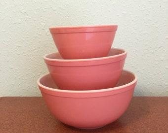 Pink Pyrex Bowls, Pyrex Mixing Bowls, Pink Mixing Bowls, Pyrex 401, Pyrex 402, Pyrex 403