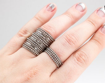 CREATE YOUR OWN Stackers set - Stacking skinny rings in oxidized Sterling Silver - Choose and customize your own rings - Made in your size