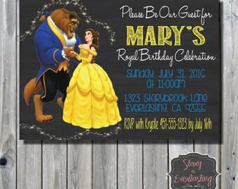 Beauty and the Beast Birthday Invitation - Disney Princess - Belle - Digital File - DIY - Printable Invitation