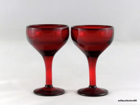 Port Wine Glasses / Sherry Glasses in Hand Blown Ruby Glass