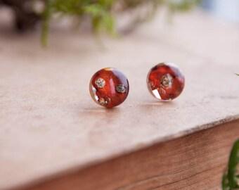 Mushroom stud earrings | Amanita mushroom earrings | Fly agaric Mushroom jewelry | Amanita muscaria Dried mushroom | Agaric fungus jewelry