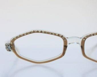 Vintage 50's French Rhinestone Mocha Cat Eyeglasses Frames
