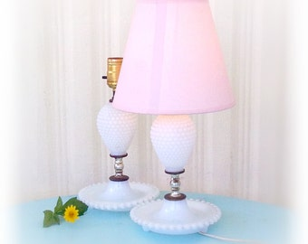 "Twin Vintage Hobnail Milk Glass Table Lamps  11"" Tall Pair-  White Cottage Style Wide Dish Bottom Working Accent Bedside Lamps 1960s"