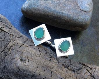 Sea glass cufflinks,  Sterling silver and green sea glass cufflinks