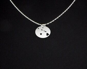 Hawaiian Islands Necklace - State Jewelry - Hawaii Gift - Hawaii Jewelry - Hawaii Necklace