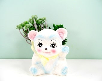 Vintage Baby Bear Planter Panda Nursery Planter Pencil Holder Baby Boy Girl Nursery Decor Mid Century Retro Nursery Shower Gift Pastel Decor