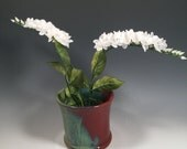 Ikebana Flower Pot - Tulip Shape Asian Vase - flower frog - Japanese Vase- Brick Red Jade Green -home decor - ceramics - pottery - stoneware
