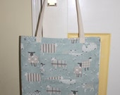 Shopping bag, tote bag, market tote, shopping tote, library bag - duck egg blue with sheep