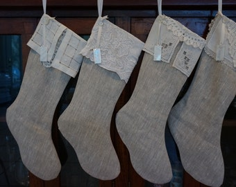 Linen Christmas stocking, personalized on mother of pearl with vintage linens as cuffs
