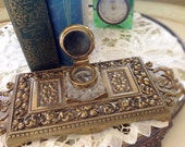 Vintage Brass Inkwell, Glass Ink Dip, Ornate Hollywod Regency